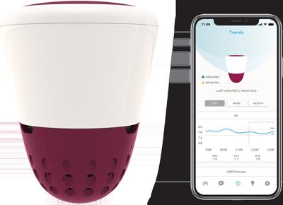 Wi-Fi thermometer en wateranalyse ICO Spa (voor whirlpool, spa, bad) – meet pH, watertemperatuur, chloor, zoutgehalte
